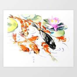 Nine Koi Fish, 9 KOI, feng shui artwork asian watercolor ink painting Art Print