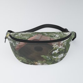 Wooden Birdhouse Amidst White Flowers Summer Garden Fanny Pack