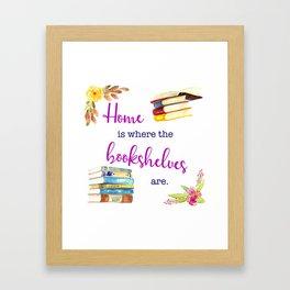 Home is Where the Bookshelves Are Framed Art Print