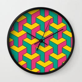 Colored Isometric Pattern Wall Clock