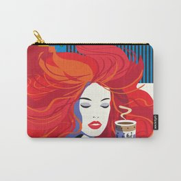 """""""Beautiful Fashion Woman and Coffee Cup"""" POP-ART poster, Retro, Design Carry-All Pouch"""