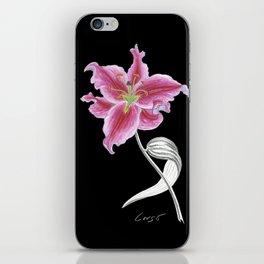 lily 02b Botanical Flower * Pink Stargazer Rubrum Lily  iPhone Skin