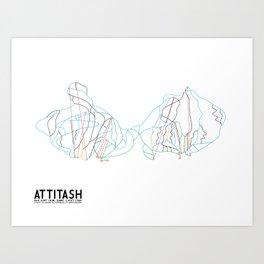 Attitash, NH - Minimalist Trail Art Art Print
