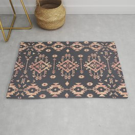 Trendy tribal geometric rose gold pattern Rug