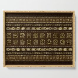 Maya Calendar Glyphs Gold on brown Serving Tray