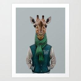 the giraffe in jacket. Art Print
