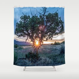 Sun Tree Hammock // Grainy Night Sunset Rays Hiking Landscape Photograph Wilderness Beauty Shower Curtain