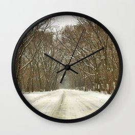 Snowy Path At Point Pele Wall Clock