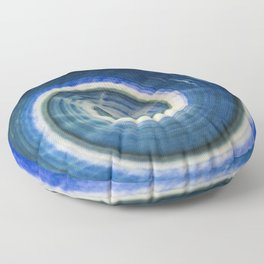 Blue and white spiral shell Floor Pillow