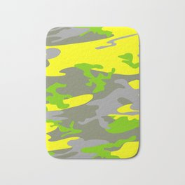 Bright Yellow army camouflage pattern design Bath Mat