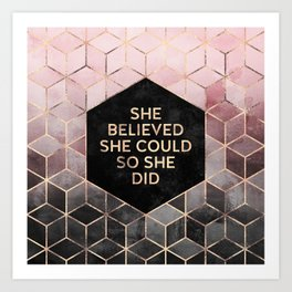 She Believed She Could - Grey Pink Art Print