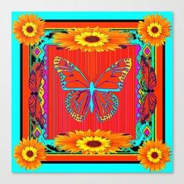 Western Monarch Butterfly & Sunflowers Art Canvas Print