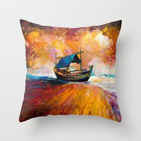 boat Throw Pillows featuring Boat by BOYAN DIMITROV