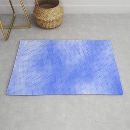 Line texture of blue oblique dashes with a dark intersection on a luminous charcoal. Rug