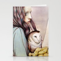 golden Stationery Cards featuring The Girl and the Owl by Michael Shapcott