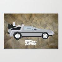 delorean Canvas Prints featuring The DeLorean by JustJoshinMagic