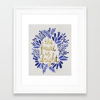 Framed Art Prints featuring The Future is Bright – Navy & Gold by Cat Coquillette