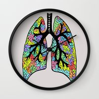 lungs Wall Clocks featuring Psychedelic Lungs  by Cash Blake