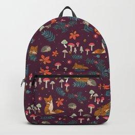 Fox and Hedgehog in Toadstool Wood In Red Backpack
