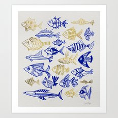 Inked Fish – Navy & Gold Art Print