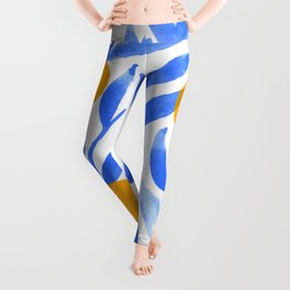 Tropical Lemons / Blue and Yellow Refreshing Lemon Print / Abstract Lemon Vibes / Summer Lemons Leggings