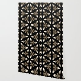Black, Tan and Cream Kaleidoscope Pattern Wallpaper
