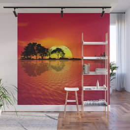 Nature Guitar Sunset Wall Mural