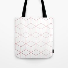 Simply Cubic in Rose Gold Sunset Tote Bag