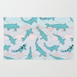 Koi carp. Blue fish. Asian wave circle background Rug