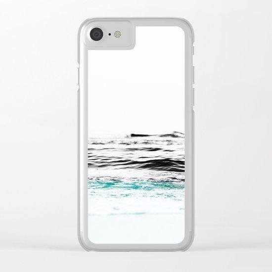 Minimalist ocean waves Clear iPhone Case