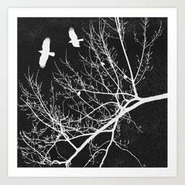 Crows Flying Over Trees Negative Silhouette Art Print
