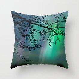 Tree Branch and Aurora Borealis Night Sky Throw Pillow
