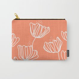 Peach Flower Doodles Carry-All Pouch
