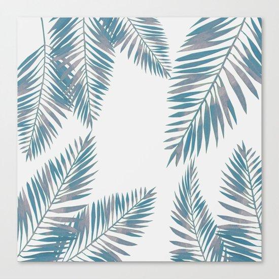Watercolor tropical palm leaves blue Canvas Print