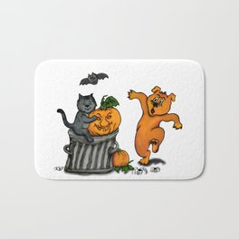 Happy Halloween with Cat, Bat, Dog and Spider Bath Mat
