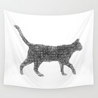 kitten Wall Tapestries featuring Dust kitten by David Zydd