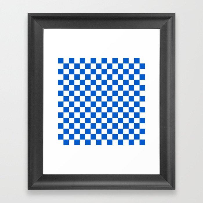 Gingham Brilliant Blue Checked Pattern Gerahmter Kunstdruck