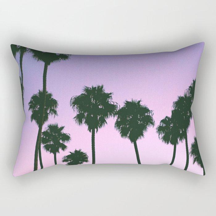 Palm Tree Purple Sunset Rectangular Pillow