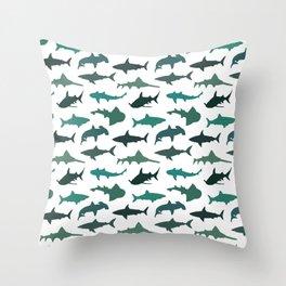 Green Sharks Throw Pillow