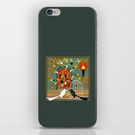 Two birds, one of them in the cage iPhone Skin