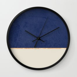 Navy Blue Gold Greige Nude Wall Clock