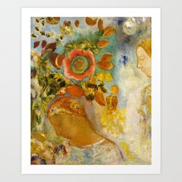 Odilon Redon - Two Young Girls among Flowers Art Print