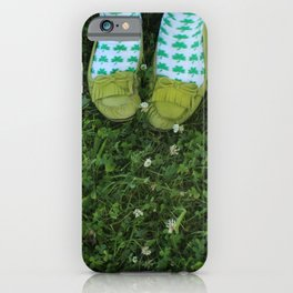 Shamrock Socks in a Green Clover Field iPhone Case