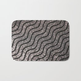 Silver Glitter With Black Squiggles Pattern Bath Mat