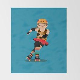Roller Derby girl (light skin) Throw Blanket