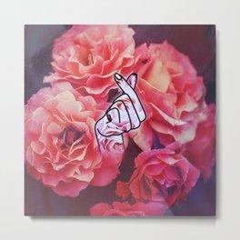Love Finger Snap Floral Metal Print