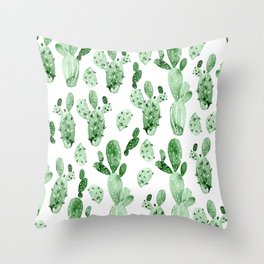 Green Cactus Field - Large Throw Pillow