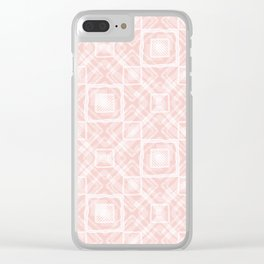 White, pink geometric pattern. Clear iPhone Case