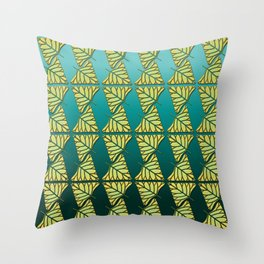 Chartreuse Leaf Triangles Ombre Teal Throw Pillow
