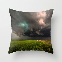 May Thunderstorm - Twisting Storm Over House in Colorado Throw Pillow
